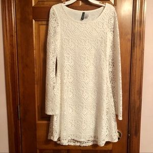 Bell Sleeve White Lace Dress